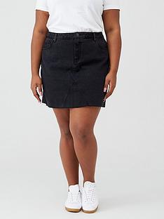 v-by-very-curve-raw-hem-denim-skirt-black