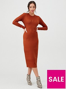 v-by-very-textured-bodycon-midi-dress-rust