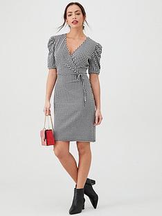 v-by-very-herringbone-wrap-frill-mini-dress-monochrome