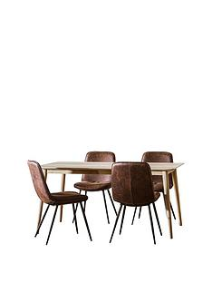 hudson-living-milano-160-cm-dining-table-4-newton-chairs