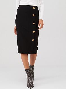 v-by-very-ribbed-button-through-midi-skirt-black