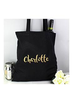 personalised-metallicnbspgold-name-black-canvas-bag