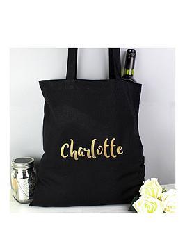 personalised-metallicnbspgold-name-black-canvas-bag