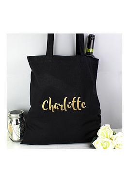 the-personalised-memento-company-personalised-metallicnbspgold-name-black-canvas-bag