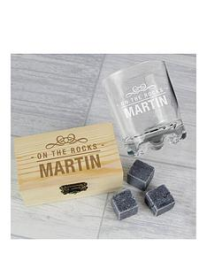 personalised-on-the-rocks-whiskey-stones-and-glass-set
