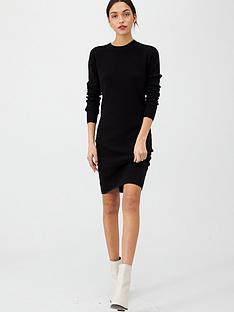 v-by-very-keyhole-back-detail-knitted-dress-black