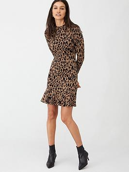 whistles-animal-print-flippy-dress-brownmulti