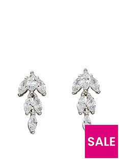 the-love-silver-collection-sterling-silver-cubic-zirconia-marquise-drop-earrings