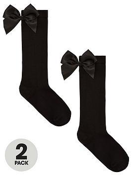 v-by-very-girls-2-pack-big-bow-knee-high-socks-black