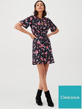 v-by-very-knot-waist-jersey-mini-dress-black-floral