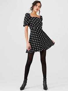 v-by-very-puff-sleeve-mini-dress-spot