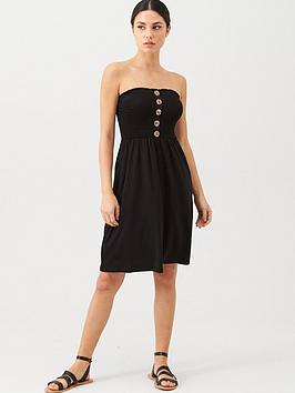 v-by-very-button-detail-shirred-mini-beach-dress-black