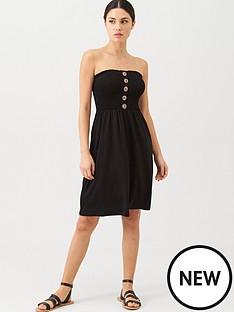 v-by-very-button-detail-shirred-mini-dress-black