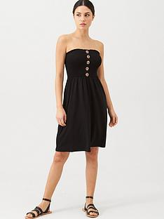 v-by-very-button-detail-shirred-mininbspdress-black
