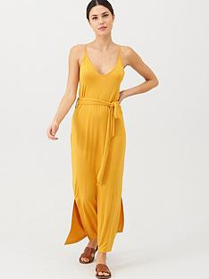 v-by-very-strappy-belted-midi-beach-dress-yellow