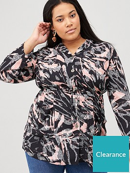 v-by-very-curve-printed-drawstring-tunic-blackmarble