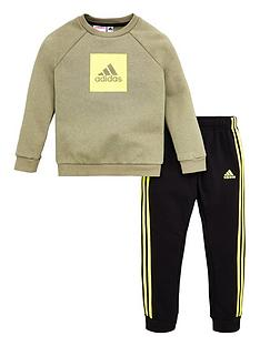 adidas-infant-2-piece-3-stripe-logo-sweatshirt-and-jogger-set-green