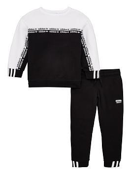 adidas-originals-childrens-crew-neck-tracksuit-black
