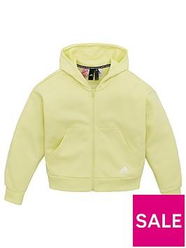 adidas-girls-3-stripe-full-zip-hoodie-yellow