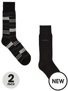 boss-2-pack-stripeplain-socks-black
