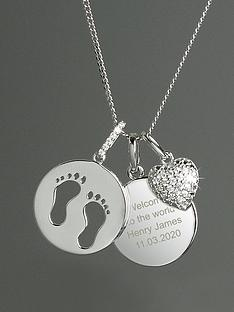 the-love-silver-collection-personalised-sterling-silver-footprints-and-cubic-zirconia-heart-charm-necklace