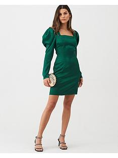 v-by-very-sleeve-detail-jacquard-dress-green