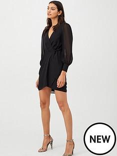 v-by-very-wrap-georgette-dress-black