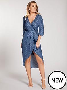 kate-wright-spot-jacquard-wrap-midi-dress-teal