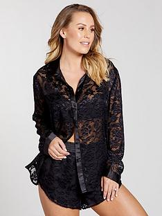kate-wright-2-piece-burnout-pattern-pyjama-set-black