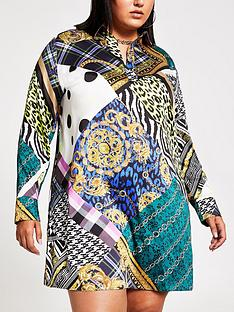 ri-plus-scarf-print-shirt-dress--multi
