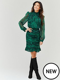 michelle-keegan-ruched-front-printed-mini-dress-snake