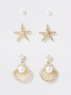 river-island-river-island-shell-stud-earring-multipack-gold