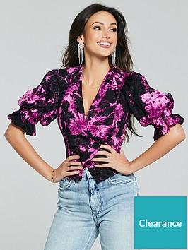 michelle-keegan-printed-blouse-black