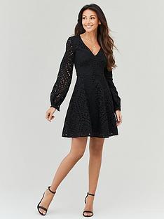 michelle-keegan-embroidered-lace-skater-dress