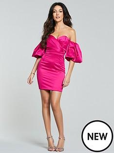 michelle-keegan-puff-sleeve-mini-dress-pink