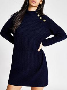 river-island-river-island-button-shoulder-knitted-dress-navy