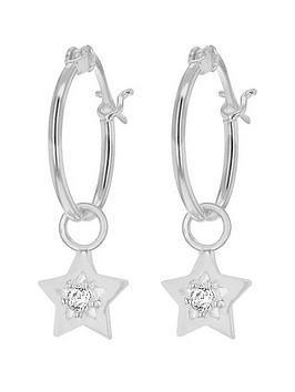 the-love-silver-collection-sterling-silver-cubic-zirconia-star-drop-hoop-earrings