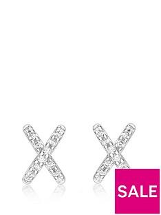 love-gold-9ct-white-gold-cubic-zirconia-cross-stud-earrings
