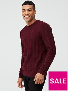 hugo-satu-crew-neck-jumper-burgundy