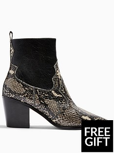 topshop-topshop-bliss-snake-print-western-boots-black