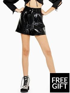 topshop-topshop-faux-croc-pu-shorts-black
