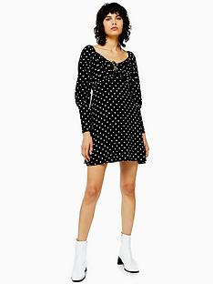 topshop-topshop-spot-print-prairie-flippy-dress-black