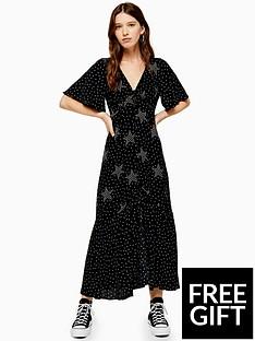 topshop-topshop-star-spot-print-angel-sleeve-midi-dress-black