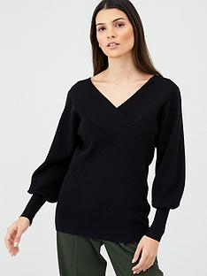 v-by-very-v-neck-balloon-sleeve-jumper-black