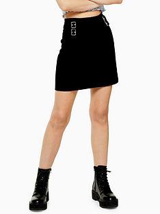topshop-mini-buckle-a-line-denim-skirt-black
