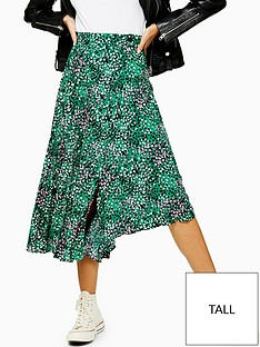 topshop-tall-spot-print-pleated-midi-skirt-green