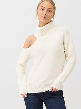 v-by-very-roll-neck-one-shoulder-cut-out-jumper-cream