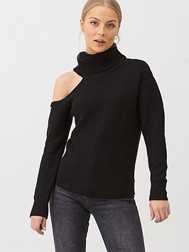 v-by-very-roll-neck-one-shoulder-cut-out-jumper-black