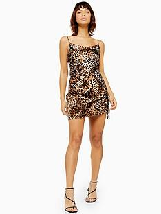 topshop-topshop-leopard-print-ruched-slip-dress-multi