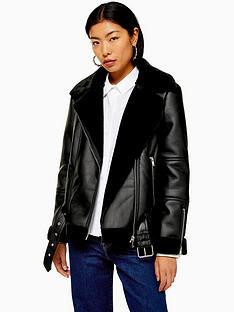 topshop-topshop-aviator-biker-jacket-black